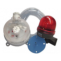 Diferenčni merilnik tlaka s tlačnim stikalom in  opozorilno lučko
